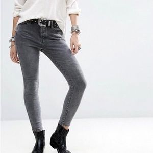 Free People High Waisted Skinny Gray Jeans